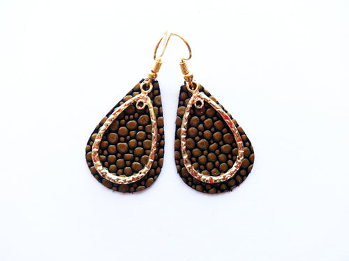 Golden Bubbles Double Layer Teardrop Genuine Leather Earring