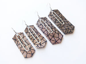 Silver Geometric Double Layer Metal Crystal Genuine Leather Earring