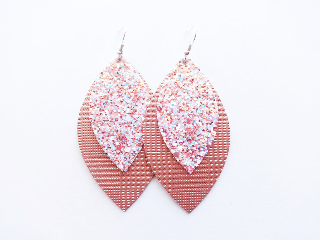 Fuzzy Peach Glitter Double Layer Leaf Vegan Leather Earring