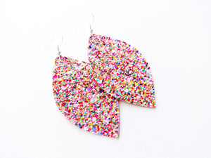 Fruity Pebbles Glitter Leaf Vegan Leather Earrings