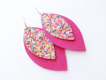 Fruity Pebbles Glitter Double Layer Leaf Vegan Leather Earring