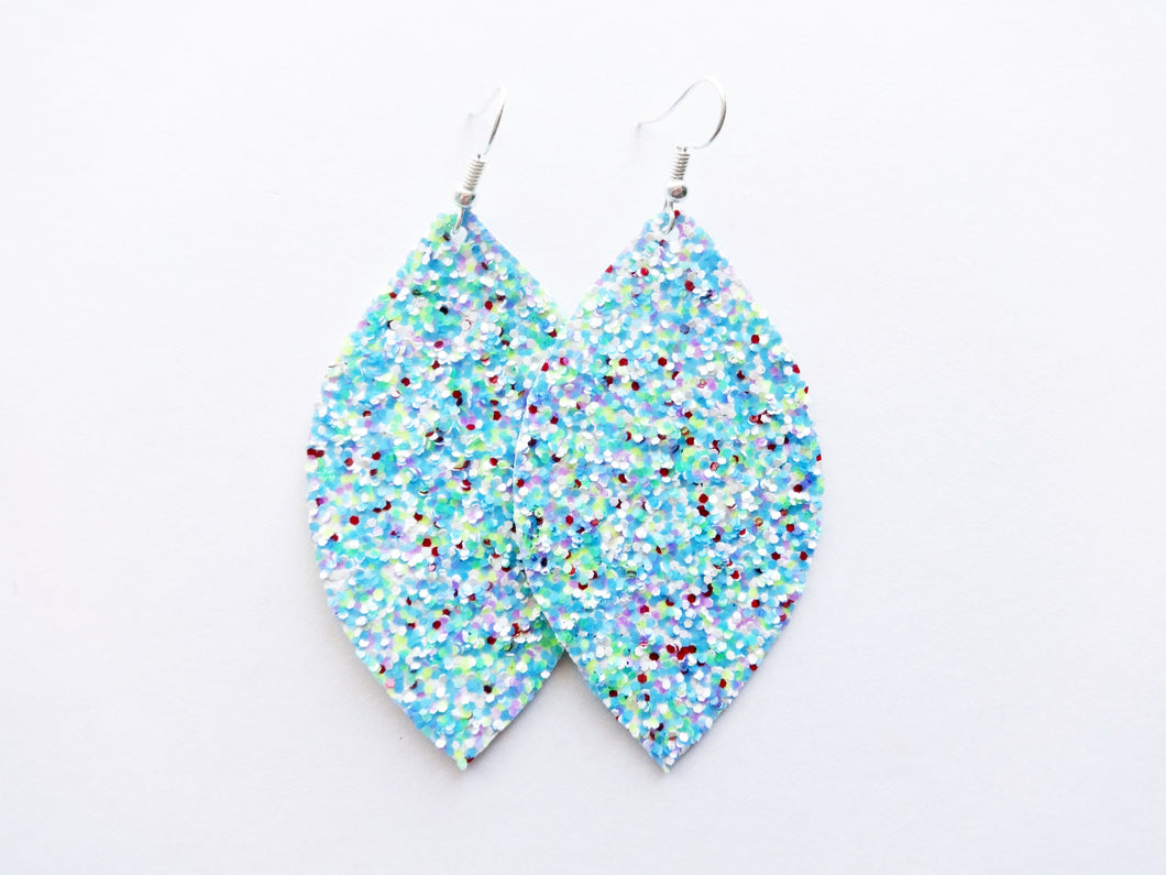 Tropical Floral Glitter Leaf Vegan Leather Earrings
