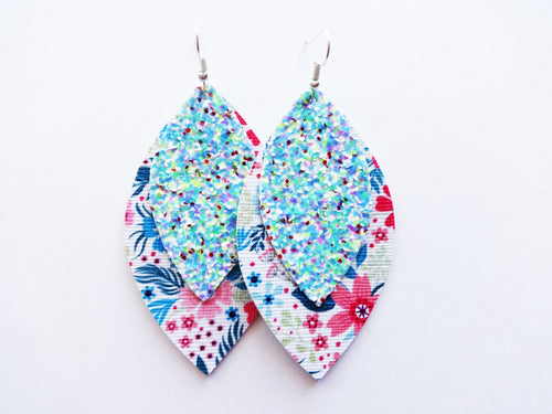 Tropical Floral Glitter Double Layer Leaf Vegan Leather Earring
