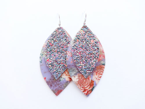 Vintage Rose Glitter Double Layer Leaf Vegan Leather Earring