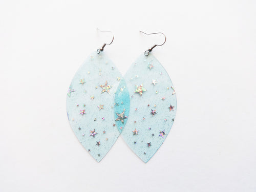Waterproof Blue Star Vegan Leaf Pool Earrings