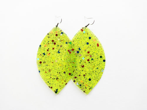 Waterproof Yellow Vegan Leaf Pool Earrings