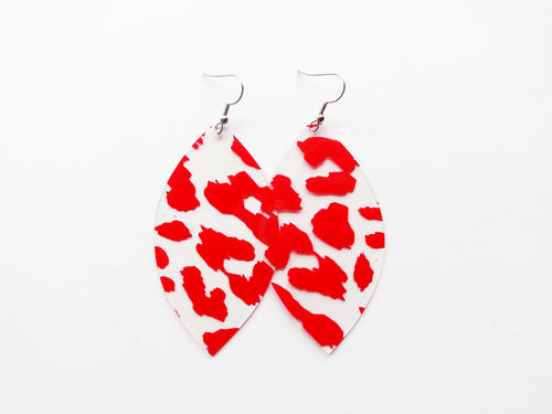 Waterproof Red Leopard Vegan Leaf Pool Earrings