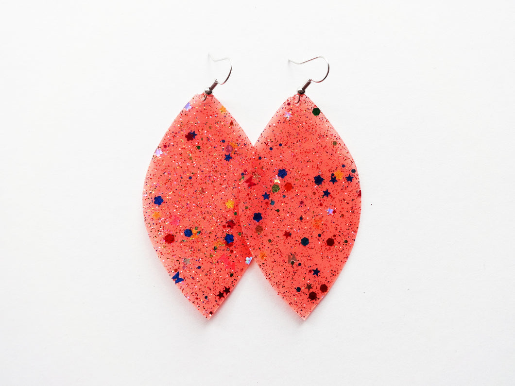 Waterproof Coral Vegan Leaf Pool Earrings