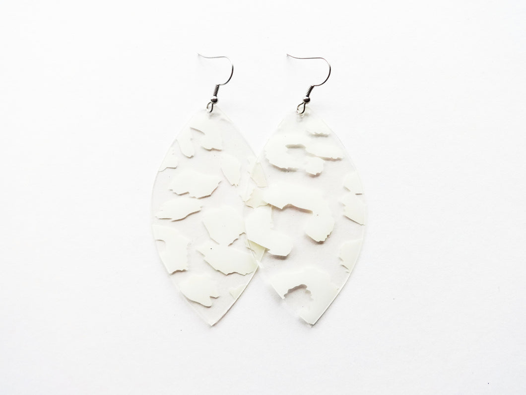 Waterproof White Leopard Vegan Leaf Pool Earrings
