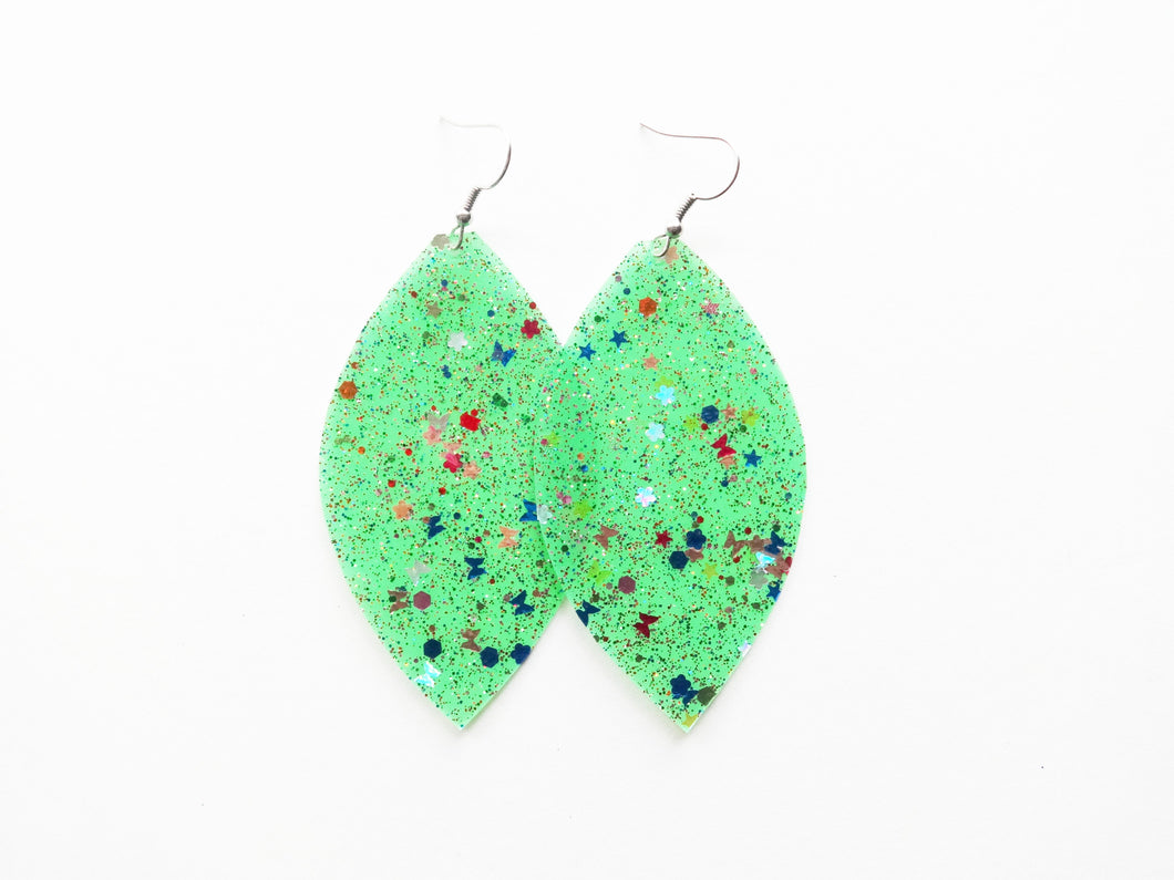 Waterproof Green Vegan Leaf Pool Earrings