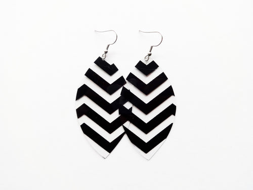Waterproof Black ZigZag Vegan Leaf Pool Earrings