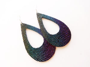 Over The Rainbow Cutout Teardrop Genuine Leather Earring