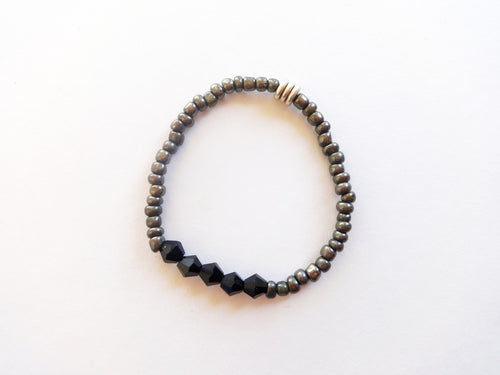 Gunmetal Stacker Beaded Bracelet
