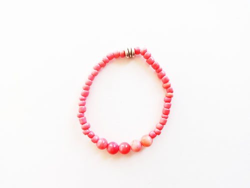 Coral Pink Stacker Beaded Bracelet