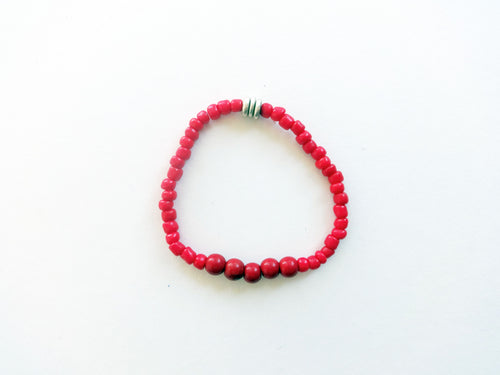 Red Stacker Beaded Bracelet