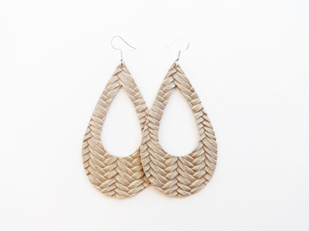 Light Khaki Braided Cutout Teardrop Genuine Leather Earring