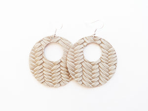 Light Khaki Braided Cutout Halo Genuine Leather Earring