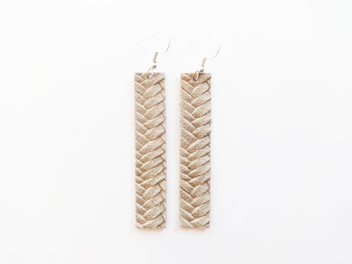 Light Khaki Braided Bar Genuine Leather Earring