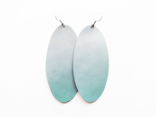 Green Frost Metallic Oval Genuine Leather Earring