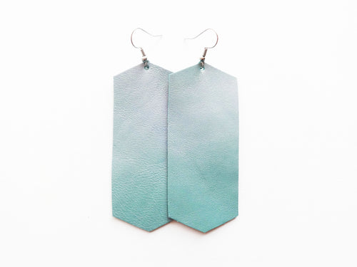 Green Frost Metallic Crystal Genuine Leather Earring
