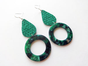 Emerald Triangle Teardrop Round Cutout Genuine Leather Earring
