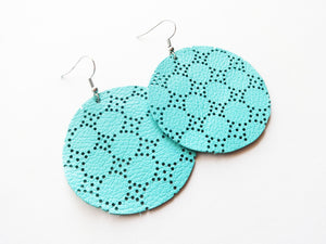 Robin's Egg Swiss Dot Round Genuine Leather Earring