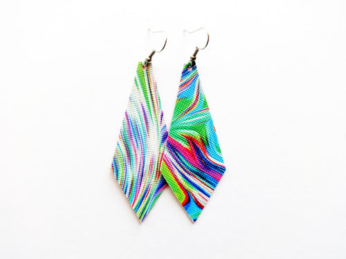 Psychedelic Rainbow Diamond Vegan Leather Earring