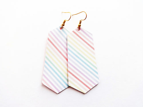 Rainbow Stripe Jewel Vegan Leather Earring