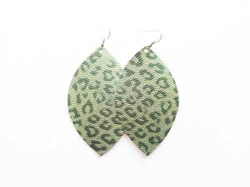 Spearmint Green Leopard Leaf Vegan Leather Earrings