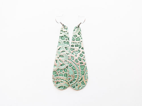 Mint Lace Teardrop Genuine Leather Earring