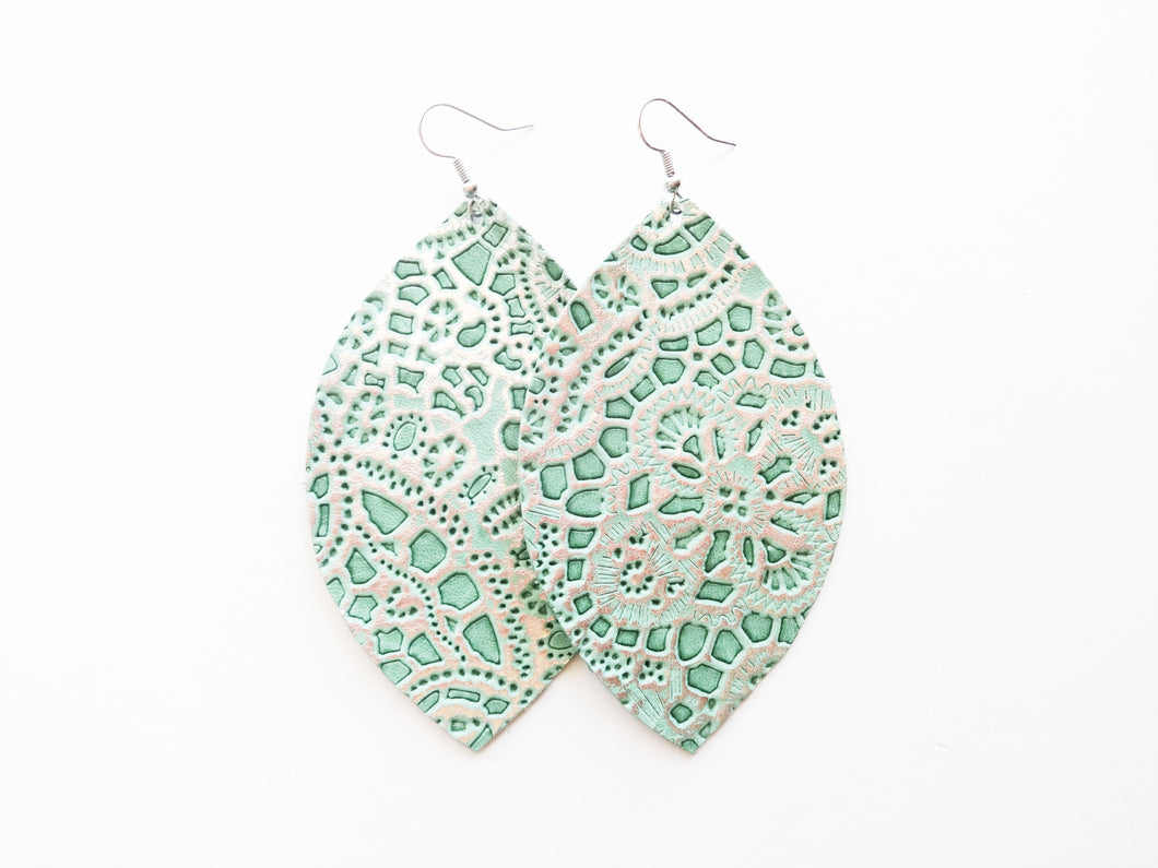 Mint Lace Leaf Genuine Leather Earring
