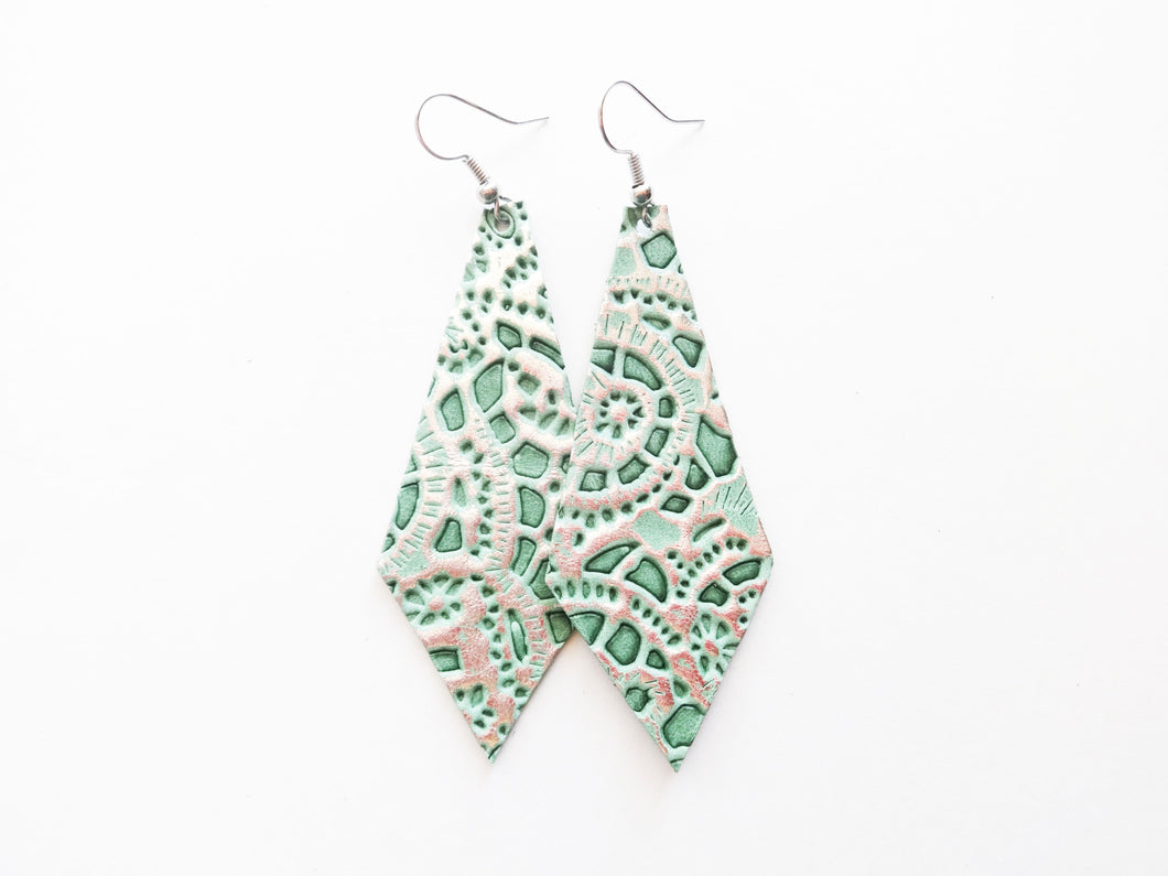 Mint Lace Diamond Genuine Leather Earring