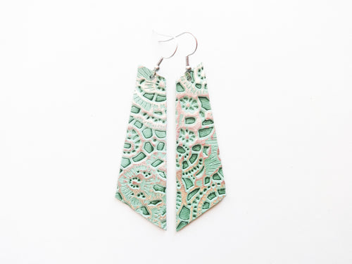 Mint Lace Signature Genuine Leather Earrings