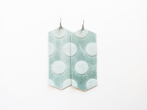 Mint Dot Crystal Genuine Leather Earring