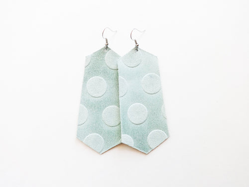 Mint Dot Jewel Genuine Leather Earring