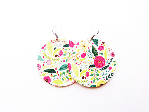 Super Bloom Floral Round Genuine Leather Earring