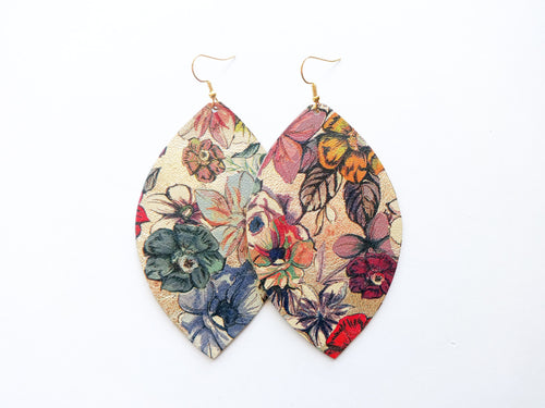 Bloom Metallic Floral Leaf Genuine Leather Earring