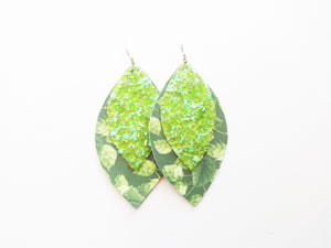 Hop Plant Beer Neon Green Glitter Double Layer Leaf Vegan Leather Earring