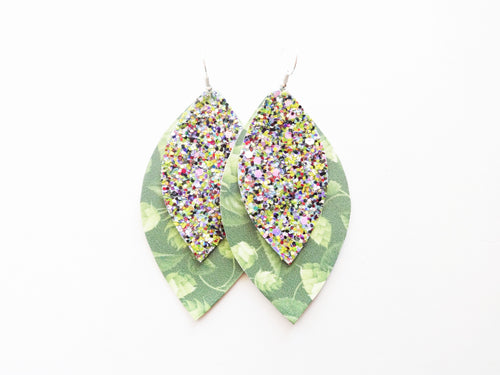 Hop Plant Beer Rainbow Glitter Double Layer Leaf Vegan Leather Earring