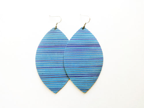 Nebulas Blue Leaf Genuine Leather Earring