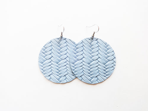 Light Chambray Braided Round Genuine Leather Earring