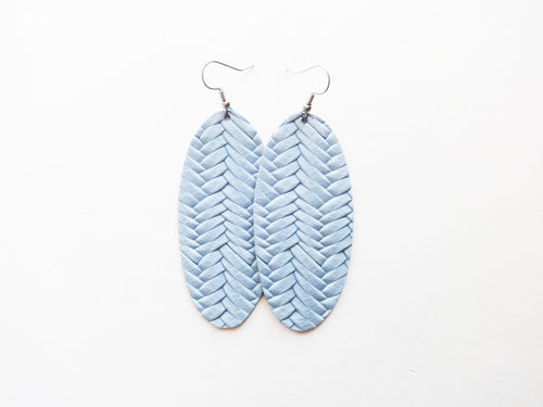 Light Chambray Braided Oval Genuine Leather Earring