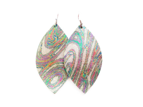Silver Psychedelic Swirl Leaf Genuine Leather Earring