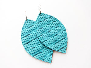 Electric Blue Knot Leaf Genuine Leather Earring