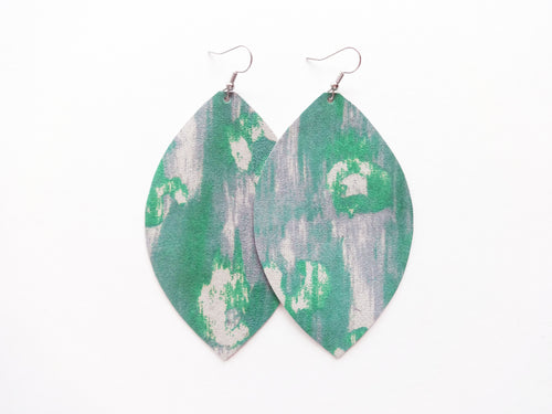 Green Watercolor Leopard Leaf Genuine Leather Earring