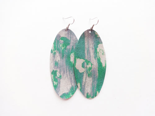 Green Watercolor Leopard Oval Genuine Leather Earring