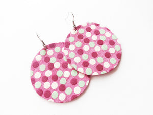 All Of The Dots Polka Dot Round Genuine Leather Earring