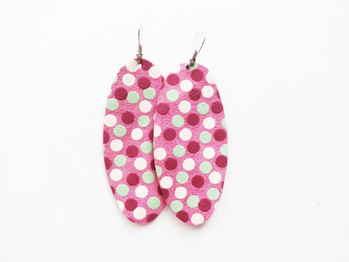 All Of The Dots Polka Dot Oval Genuine Leather Earring