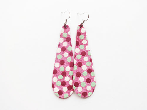 All Of The Dots Polka Dot Teardrop Genuine Leather Earring