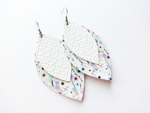 100 Blooms Floral Double Layer Leaf Vegan Leather Earring